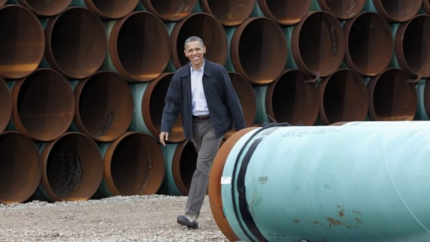A 2012 photo shows U.S. President Barack Obama arriving at the TransCanada Stillwater Pipe Yard in Cushing, Okla. With renewed momentum in Congress to approve construction of the northern leg of the Keystone XL pipeline, Obama may soon be faced with making a final decision on whether to approve the project.
