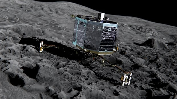 Data sent back to Earth by Philae, seen in an artist's impression, suggests that the surface of Comet 67P/Churyumov-Gerasimenko is covered in a layer of dust 10 to 20 centimetres thick. Underneath that is a hard surface of ice or ice and dust mixed together.