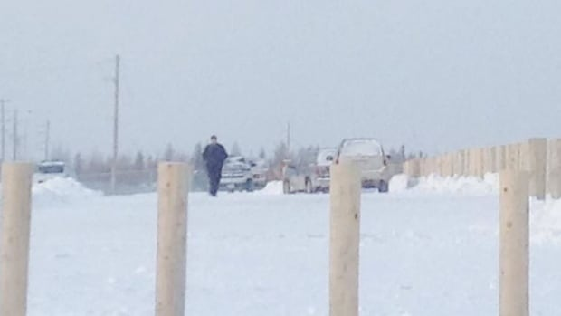 NAPS Police at Attawapiskat's new elementary school on Wednesday. The school is in lockdown after a shot was fired about 8:30 a.m.