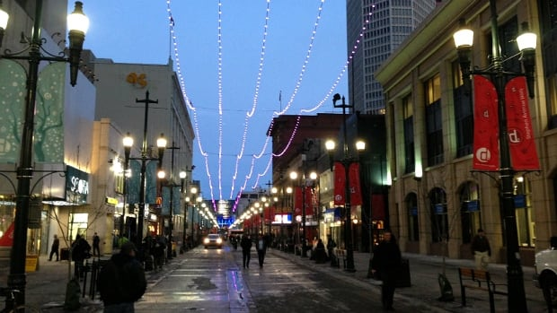 Stephen Avenue was brightened with holiday lights Thursday. Mayor Naheed Nenshi says a new survey finds that many Calgarians are happy to live in the city.