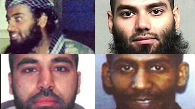 Ahmad Waseem (top left), Hasibullah Yusufzai (top right), Maiwand Yar (bottom left) and Ferid Ahmed Imam are Canadians accused of dangerous terrorist connections and charged by the RCMP, but who are still at large