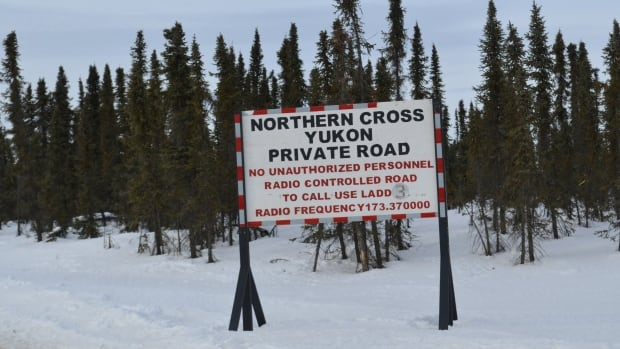 A sign at Chance Road about 35 kilometres south of Eagle Plains, Yukon. Northern Cross is proposing to do more oil and gas exploration in the area.