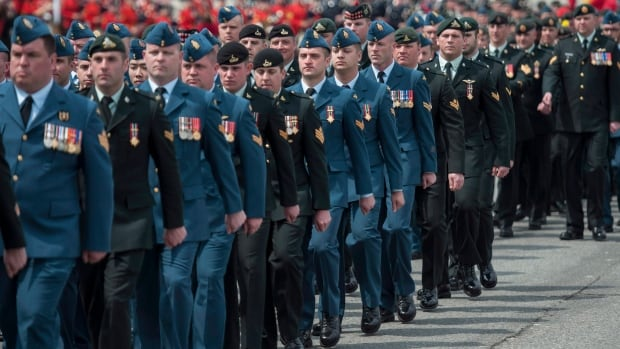 Canadian Forces members parade in Ottawa during the National Day of Honour for soldiers who participated in the war in Afghanistan last May. A survey conducted for the Department of National Defence says the military remains far short of its goals for recruiting more women, aboriginals and visible minorities into its ranks.