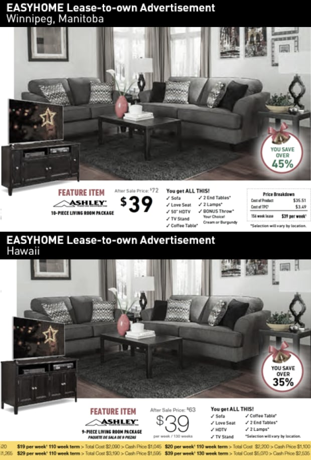 easyhome online ads, Manitoba vs. Hawaii