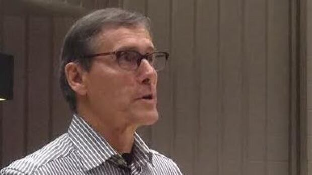 Resolute Forest Products CEO Richard Garneau spoke at a public forum held Tuesday night. The Thunder Bay community meeting dealt with issues facing forestry companies in the region.