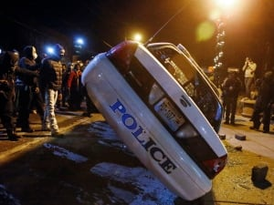 Ferguson police car flipped
