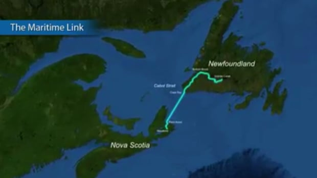 A map shows the route of the Maritime Link, which will connect Newfoundland with Nova Scotia.