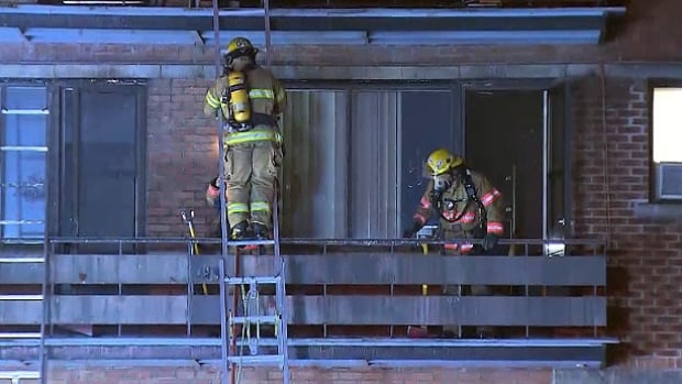 The fire broke out in a basement storage locker and quickly moved to the first and second floors of the apartment building.