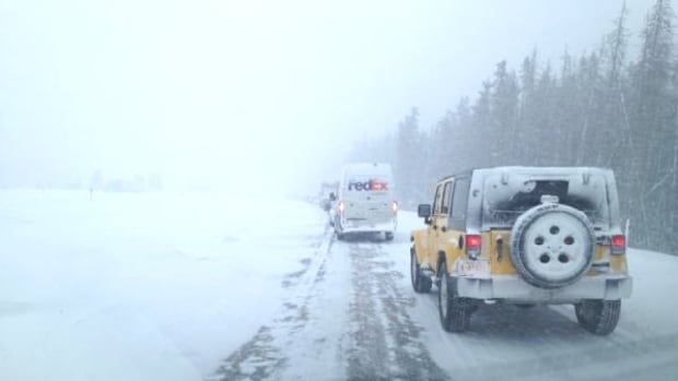 The Trans Canada Highway From Lake Louise To Banff Is Slow Due To Several Crashes