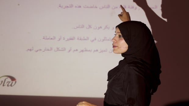 Alaa Murabit is shown in an undated handout photo conducting a Noor Seminar in Benghazi. THE CANADIAN PRESS/The Voice of Libyan Women