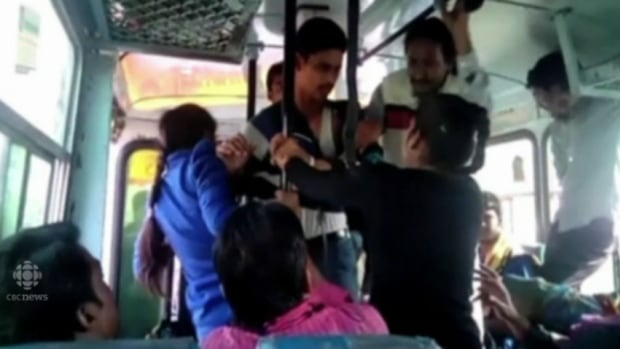Sexual harassment in crowded bus image
