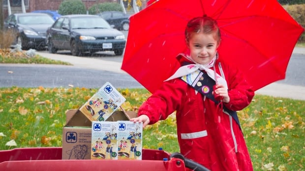 Girl Guides take their cookies to the street this month.