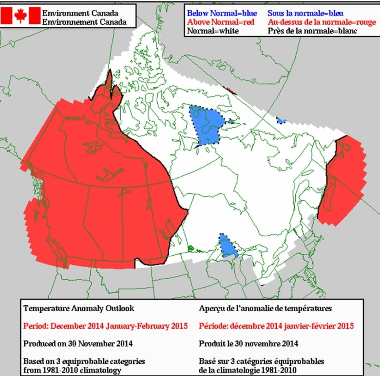 Canada Weather Map Temperature.Canada Winter Forecast El Nino Should Keep Polar Vortex At Bay