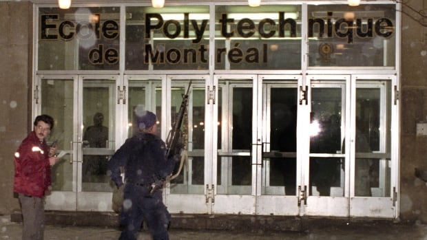 Police enter the Montreal's Ecole Polytechnique on Dec. 6, 1989.  Marie-Claude Lortie had worked at La Presse newspaper for 18 months when she was dispatched to cover the shooting.