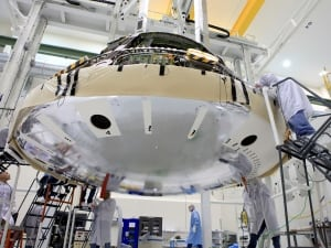 Technicians and Orion's heat shield