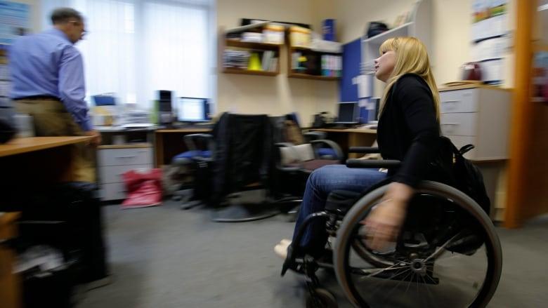 disabled wheelchair worker