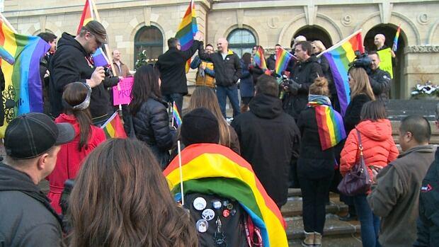 Gay-straight alliance rally, Bill 10 rally, in Calgary