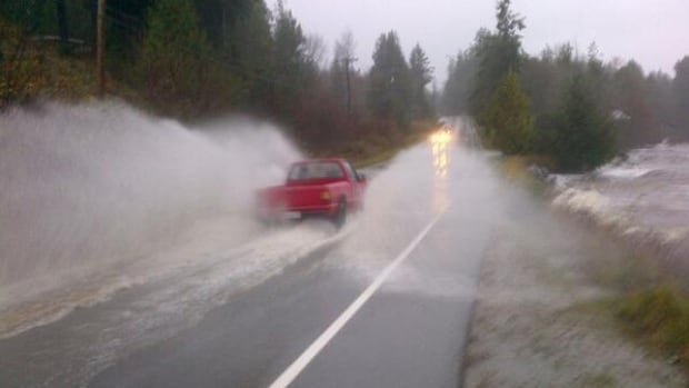 In 2014, Highway 101 on B.C.'s Sunshine Coast was flooded due to the king tide blocking the culvert outlet.
