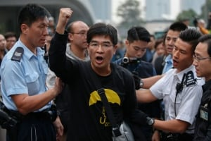 HONG KONG demonstrator democracy shout