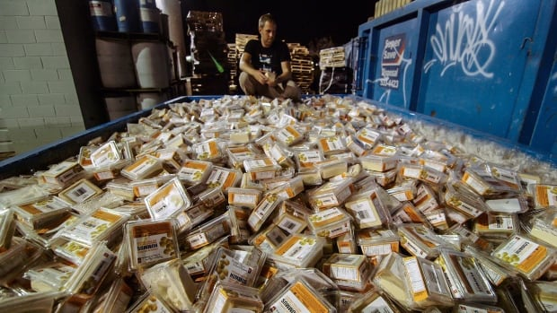 Canada wastes some $31 billion worth of food every year, like this dumpster full of containers of hummus.