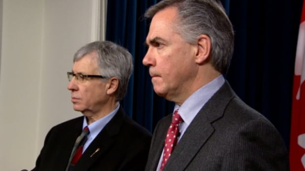Finance Minister Robin Campbell and Premier Jim Prentice held a news conference Monday about how the Alberta government is placing limits on hiring and spending.