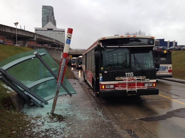 TTC bus hits shelter