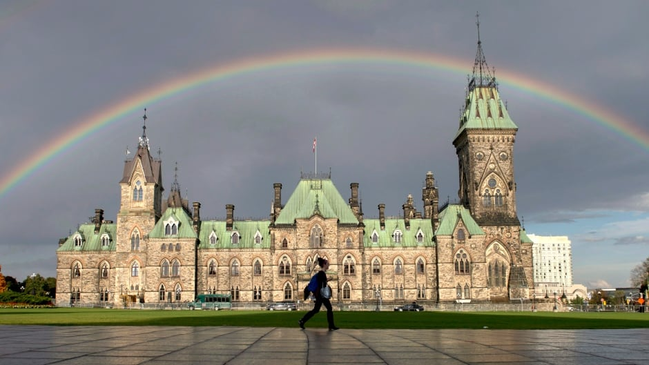 A woman walks on Parliament Hill as a rainbow arches over the East Block in October.