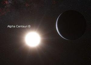 Artist's impression of a planet orbiting Alpha Centauri B