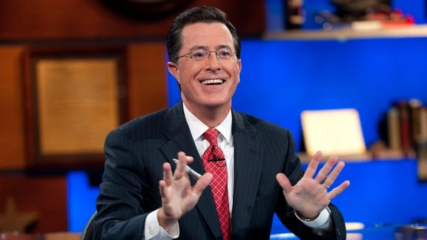 Stephen Colbert, seen here on the set of Comedy Central's long-running The Colbert Report, will take over for David Letterman as host of The Late Show on CBS on Tuesday night.