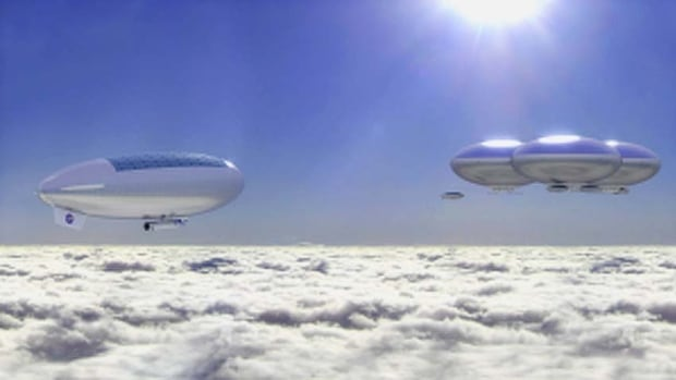 NASA scientists imagine sending astronauts to study Venus by floating them above the planet where the atmosphere is similar to that of Earth's.