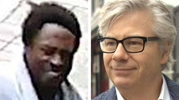 A composite image of the suspect, left, who police say tried to mug Toronto restaurateur Arron Barberian, right, outside his downtown Toronto steak house. Police say the suspect is between 30 and 40 years old, with a medium build.