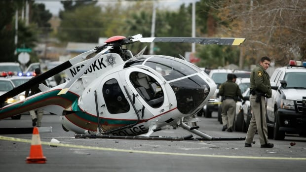 Las Vegas Helicopter Crashes Into Residential Street 2 Police Officers Injur