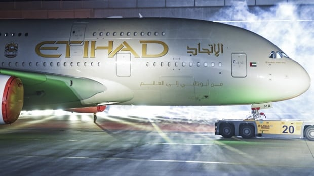 This file photo shows an Etihad Airlines plane. The airline is a flag carrier of the United Arab Emirates.
