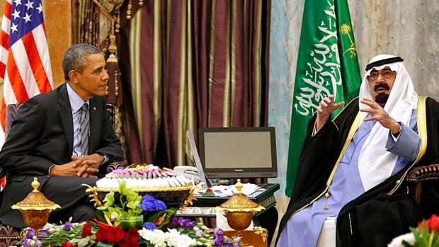 U.S. President Barack Obama meets with King Abdullah at Rawdat al-Khraim (Desert Camp) near Riyadh in Saudi Arabia, March 28, 2014. The 90-year-old king was admitted to hospital in December with pneumonia.