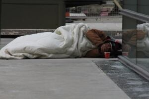 Homeless man in winter