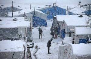 Middle East snow storm Syrian refugees