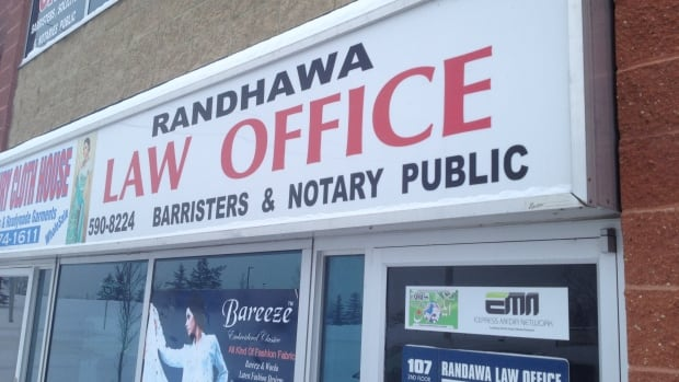 Surinder Randhawa's law office near Falconridge is still operating after his suspension from the Law Society of Alberta.