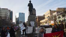 protest at Sir John A. Macdonald statue