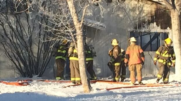 A building on a chicken farm near Saskatoon was destroyed by fire.