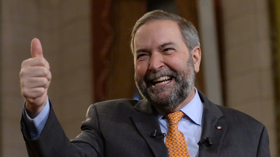 Why is NDP Leader Thomas Mulcair smiling? Because the polls say he's got a real shot to be Prime Minister.