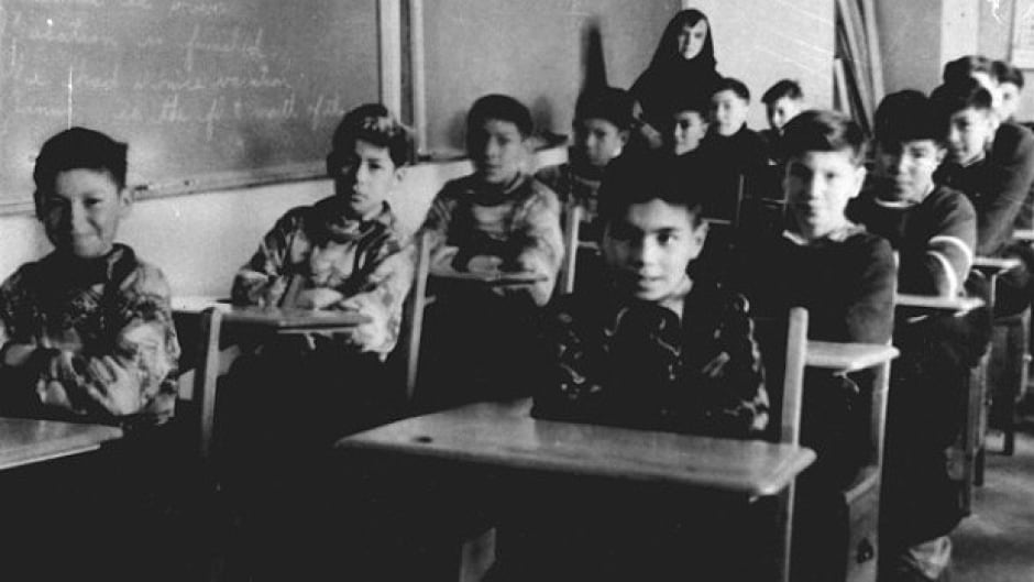 Boys in a classroom c. 1945 at St. Anne's Indian Residential School in Fort Albany, Ontario.