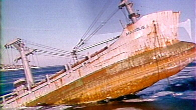 Manolis L sunken ship Notre Dame Bay file photo
