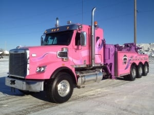 Pink tow truck