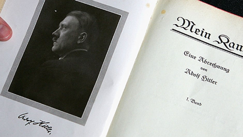 A signed copy of Adolph Hitler's Mein Kampf. (Photo by Daniel Berehulak/Getty Images)