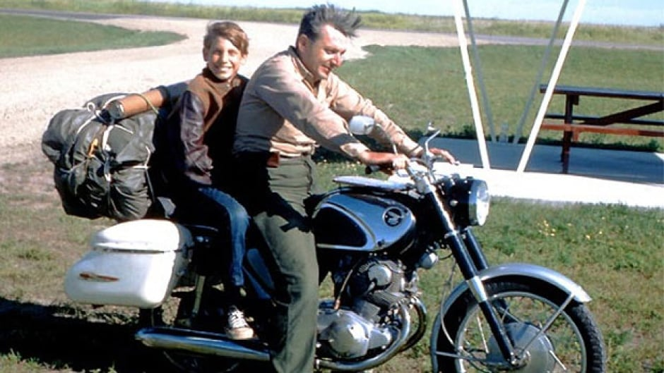 Robert Pirsig and his son Chris on the 1968 road trip that inspired his book Zen and the Art of Motorcycle Maintenance. (Courtesy: Robert Pirsig)