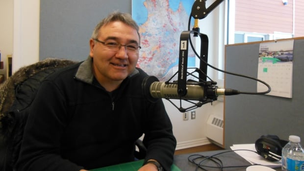 Jobie Tukkiapik at the CBC studio in Kuujjuaq, Que., in 2015 after his re-election as president of the Makivik Corporation. He's running against four other candidates for the upcoming 2018 election.