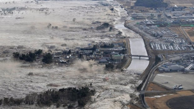 A megathrust earthquake caused a tsunami that swept along the shores of Japan in 2011.