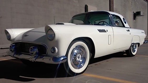Alberta Premier Jim Prentice placed the winning bid for this vintage T-bird at an auction in Scottsdale, Ariz. on Sunday.