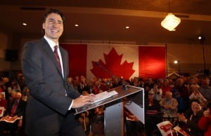 Liberal Leader Justin Trudeau speaks to Liberal supporters in London, Ont.