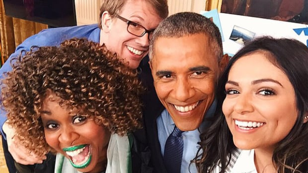 U.S. President Barack Obama takes a selfie with the three YouTube content creators chosen to interview him onThursday.